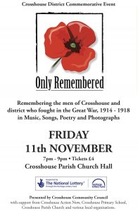 Concert in Crosshouse Parish Church Hall, Friday 11th November, 7pm to 9pm. All welcome. Tickets on the door.